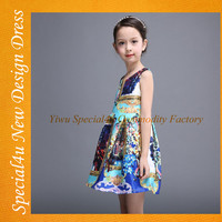 High grade printed girls' dress casual style colorful children dresses new fashion children frocks designs SA-197