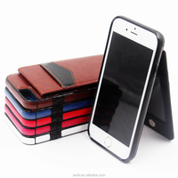Hot selling leather phone wallet card slots holder case fashion 2 in 1 pu pc hard case with credit card