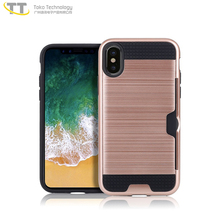 2017 card slot case for iphone x tpu pc phone case with card slot