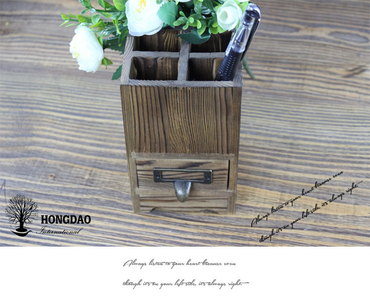 HONGDAO cheap custom made wood pen container, pencil holder hollowed out for sale