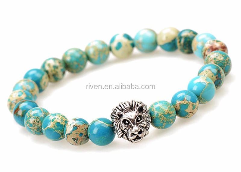 Imperial Jasper Bracelet, Lion Jasper Bracelet, Blue Imperial Jasper, Blue Jasper Bracelet, Stretch Bracelet, Mens Bracelet, Gift for Him.jpg
