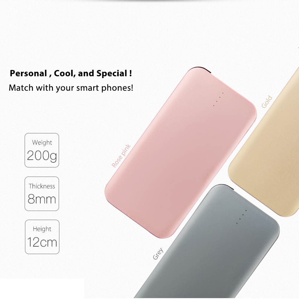 Aluminum power bank 8000mah for all smartphones
