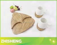 CM-B02 bamboo serving tray with 3pcs coaster, New Design bamboo cup mat