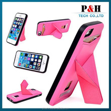 Luxury design Foldable Stand Case for iPhone 6, Hybrid PU & TPU & PC Hard Back Case for iPhone 6 4.7 inch with Card Slot