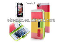 2013 Hot Selling Cell Phone Case With Card Holder Cover For Apple iPhone 5, Premium PU Leather Colorful Wallet Cases