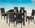 custom make aluminum frame rattan wicker outdoor obong dining table with stackable chairs