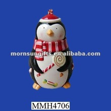Holiday ceramic penguin canister jar