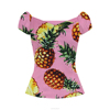 summer women pineapple print v neck puff sleeve vintage pinup style peasant top