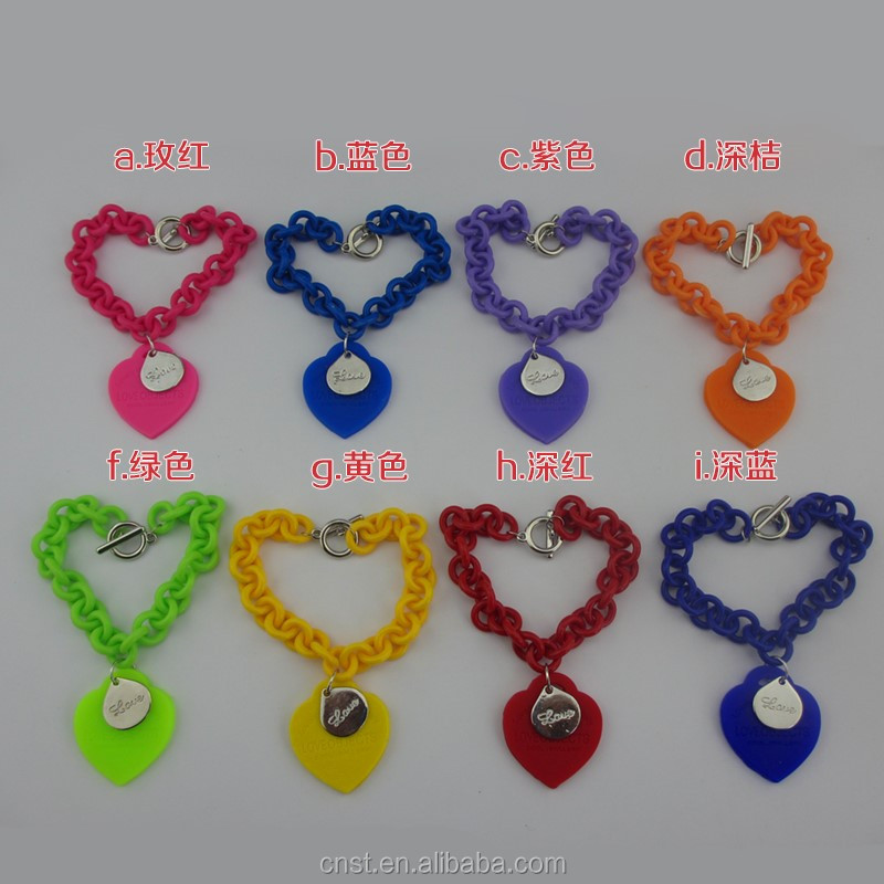 most popular silicone chain heart engraved LOVE bracelet wristband