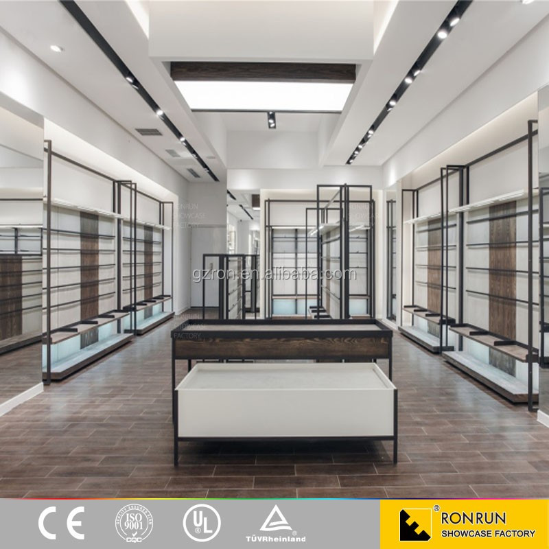 Clothes retail store commercial display furniture stainless steel clothing display showcase cabinet