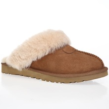 CF-195 Winter Factory Cow Leather And Lining Sheepskin Women Warm Winter Slippers Indoor Shoes