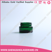 real green color round glass cosmetic jar