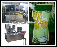 security vacuum with spout in top for juice plastic bags filling sealing capping packing machine