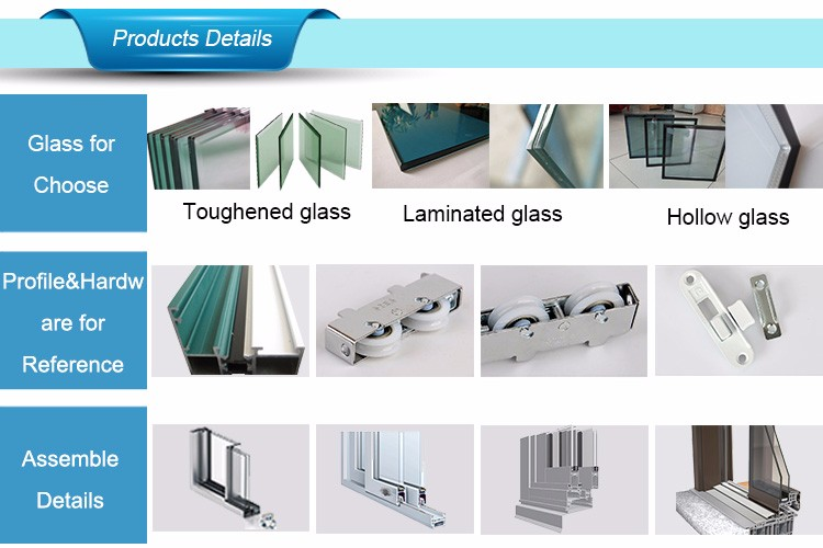 Soundproof Aluminium Glass Door,Exterior Sliding Glass Door 5742