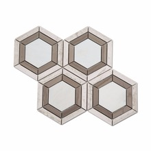 Polished Large Grey And White Hexagon Marble Mosaic Tiles Price