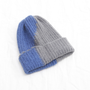 Cosum custom fashion cheaper winter hat two colors jacquard knitted bobble beanie cap