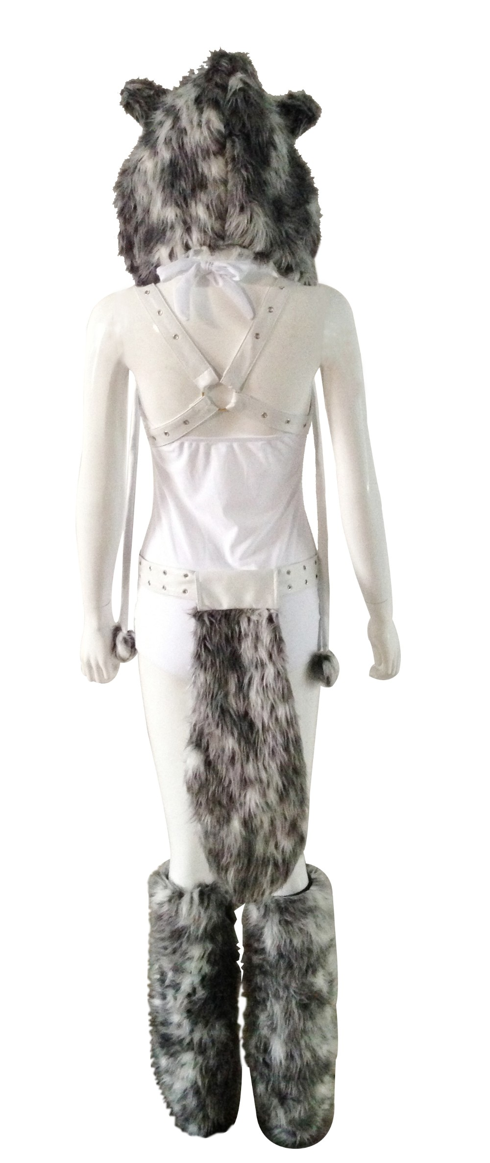 Halloween Adult Animal Cosplay Hood Fur Sexy Wolf Costume