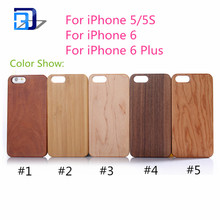 Button Plastic Phone Case Bamboo with PC Blank Wood Phone Cover for iphone 6s