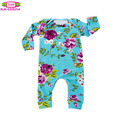Baby clothes clothing yiwu top 100 names Infant bodysuit cotton knit baby print floral long sleeve long leg romper bodysuit