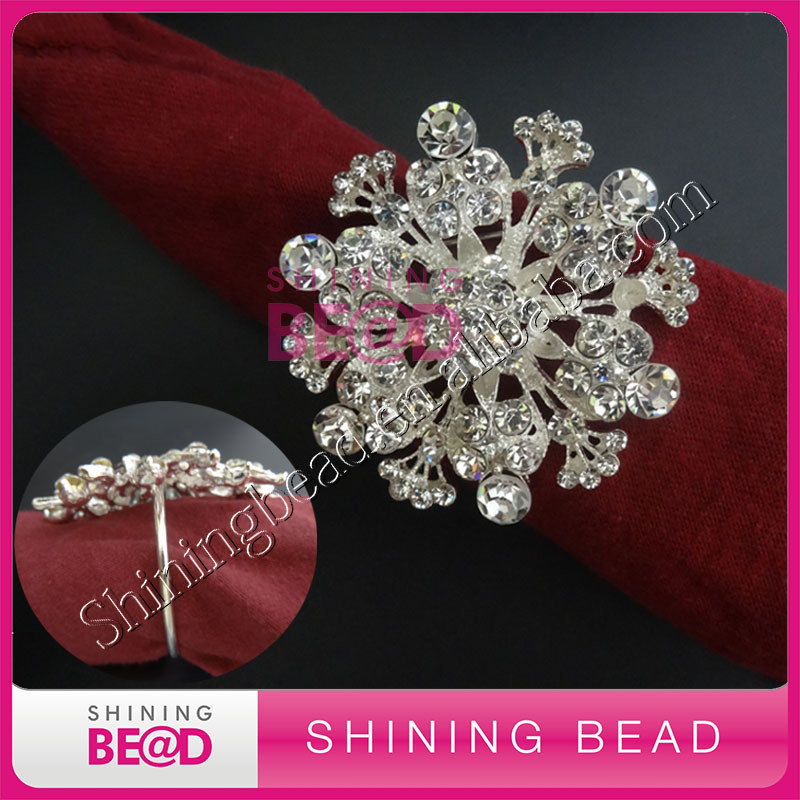 sparkling sliver clear wedding rhinestone napkin ring
