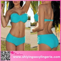 2015 Teal Ruffled Accent Push-Up Bikini Swimwear Hot Woman Xxx Photo
