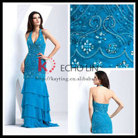 Elegant sexy deep v-neck backless shiny evening dresses with beads long evening dress