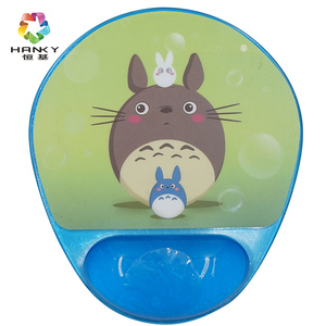 Shiny Blue Silicone Gel Custom Mouse Pad With 3D Wrist Rest Support gel Mousepad