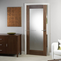 Walnut door frosted glass panel interior french door