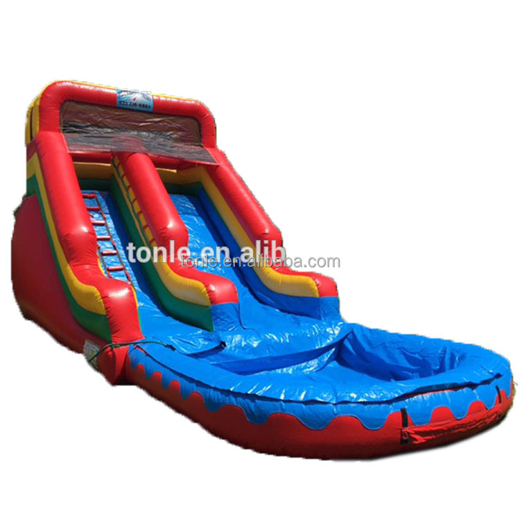 rainbow theme inflatable 40ft Water Slide for sale, inflatable wet slide for fun