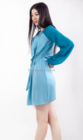 High Quality new fashion crew neck long sleeve women dress With Belt for autumn 2015