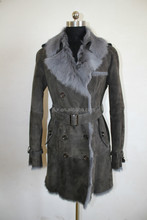 Fashion Ahead Tuscan Goat Fur Long Outer Wear Sheep Fur Coat With Irregular Collar And Belt