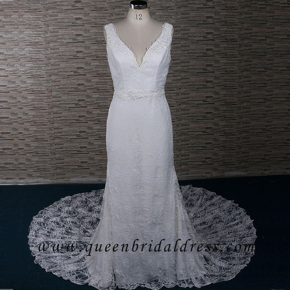New Fashion V-neck Soft Lace Backless Sweep Train Bridal Gown