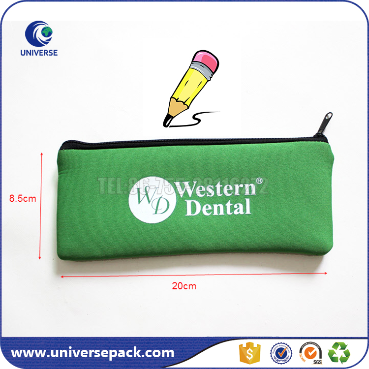 Green Zipper Cosmetics Neoprene Makeup Bag With Custom Brand Name