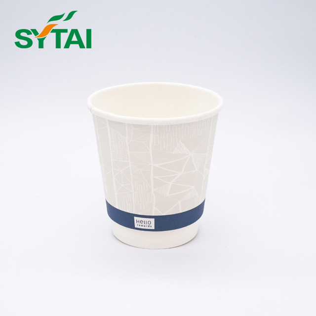 Recycled company logo biodegradable insulated hot double wall paper cups
