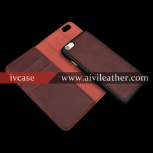 Retro Real Leather Detachable Wallet Leather Case for Iphone 6