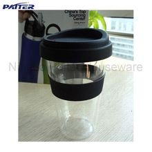 350ml Double wall glass coffee cup with silicon lid and grip