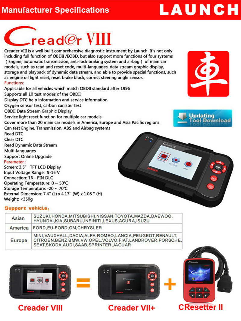 Original Launch Creader VIII Car Scanner ENG/AT/ABS/SRS EPB SAS Oil Service Light Resets Professional Auto Code Reader Tool