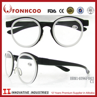 FONHCOO Hot Sale Korean Style Round Black Metal Frame Reading Glasses