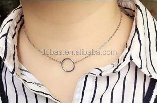 Women Stainless Steel Circle Choker Necklace Circle of Life Pendant Chain Necklace