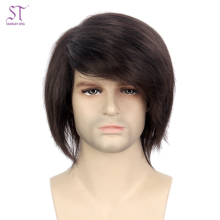 Fashion Men Hair Wig Sewing Machine Brown Short Straight Synthetic Wig For Cheap Sale