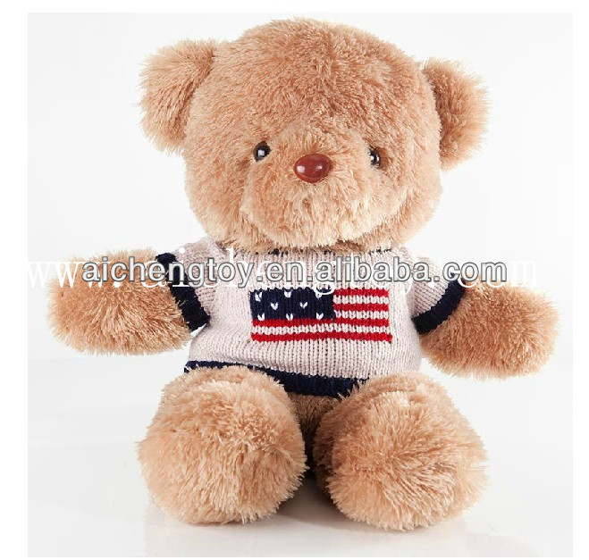 Custom top quality teddy bear with corchet knitting sweater