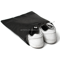 New Non-Woven Fabric Storage Bags Convenient Square Travel Drawstring Portable For Shoes Container Black White