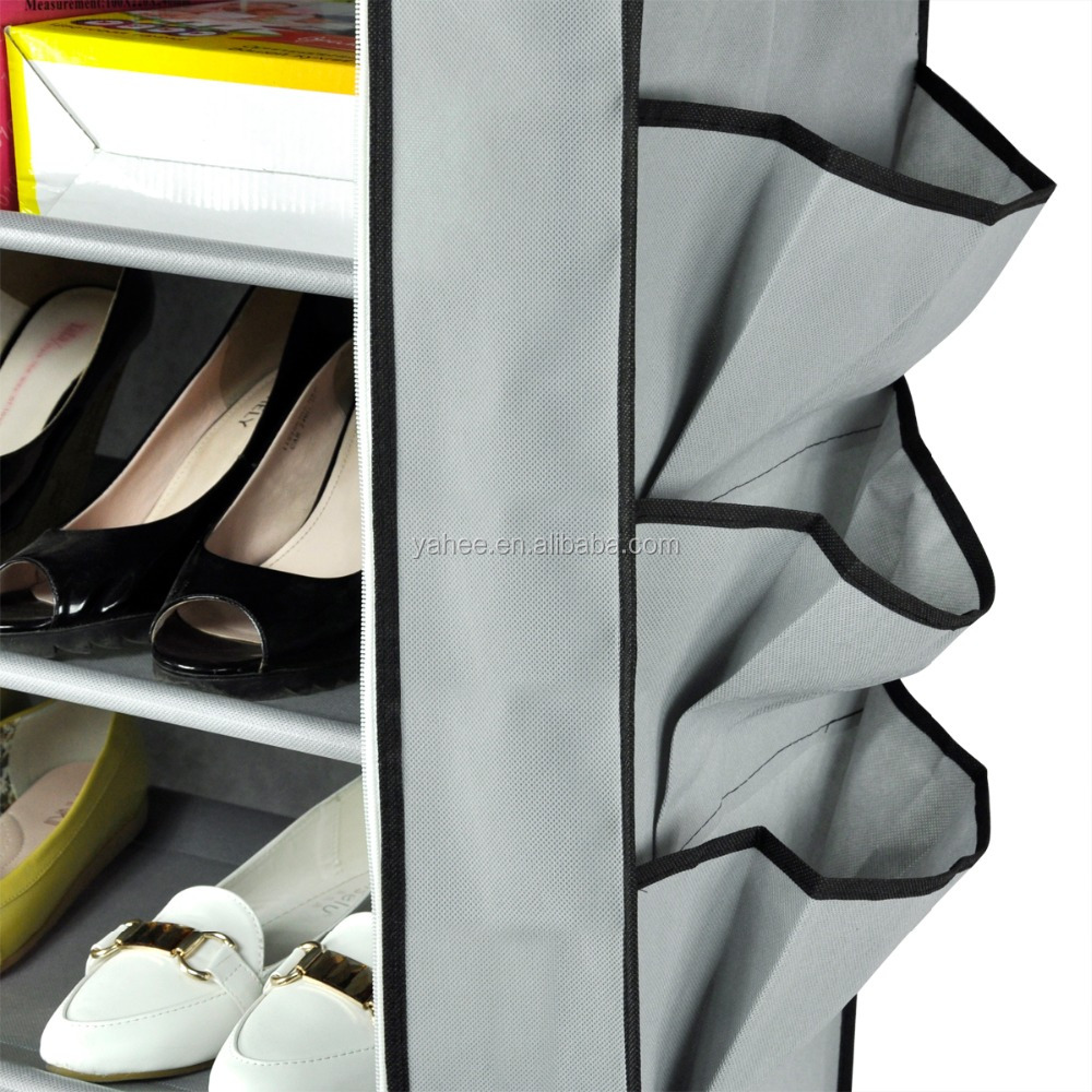 Singer Row Non-woven Fabrics Shoes Cabinet Shoe Storage Cabinet With Rolling Door