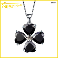 beautiful 925 sterling silver jewelry black heart cz stone necklace with flowers stone