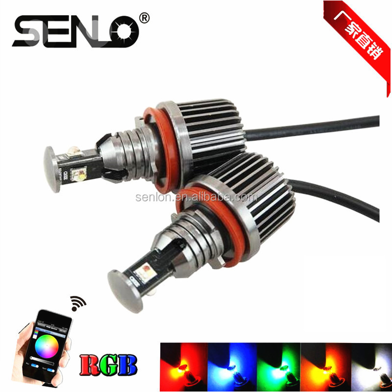 new design colors changing 1500LM wifi rgb led angel eye e92 headlight bulb H8 30w canbus 12V for BMW e60 e87 e82 e93 e70 e63