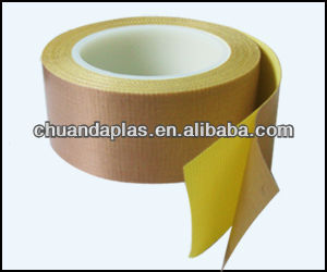 Polytetrafluoroethylene coated glass fiber adhesive tape with yellow release paper