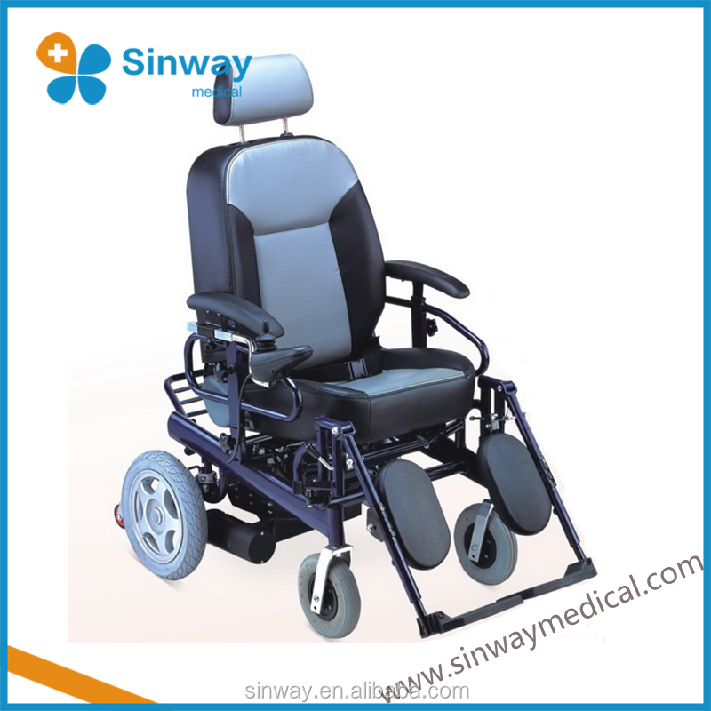 Aluminum reclining portable electric wheelchair