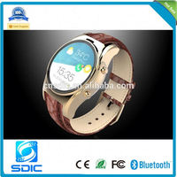 china MTK2502 round touch screen IP55 waterproof android smart watch phone with wrist watch phone android ce rohs