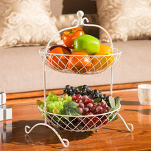 OEM customize welcome cheap 2 tier iron metal wire round storage fruit basket