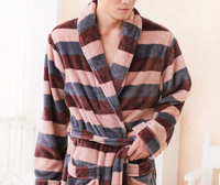 Buy 100% polyester coral fleece robe night gown plush bathrobe men ...